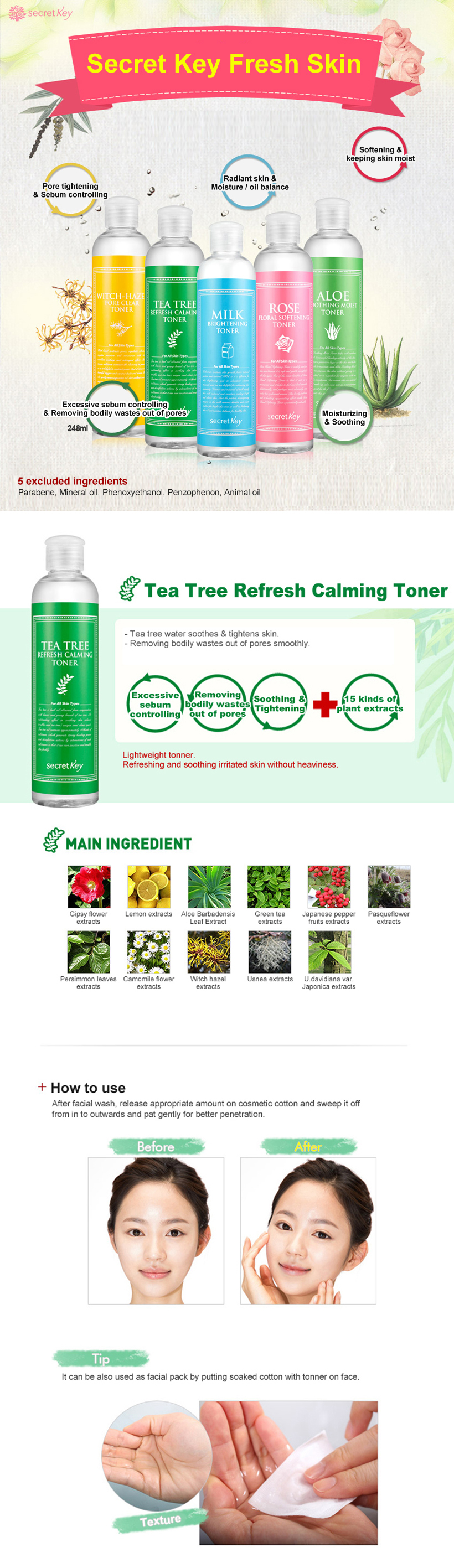 [ SECRET KEY ] Tea Tree Refresh Calming Toner 248ml