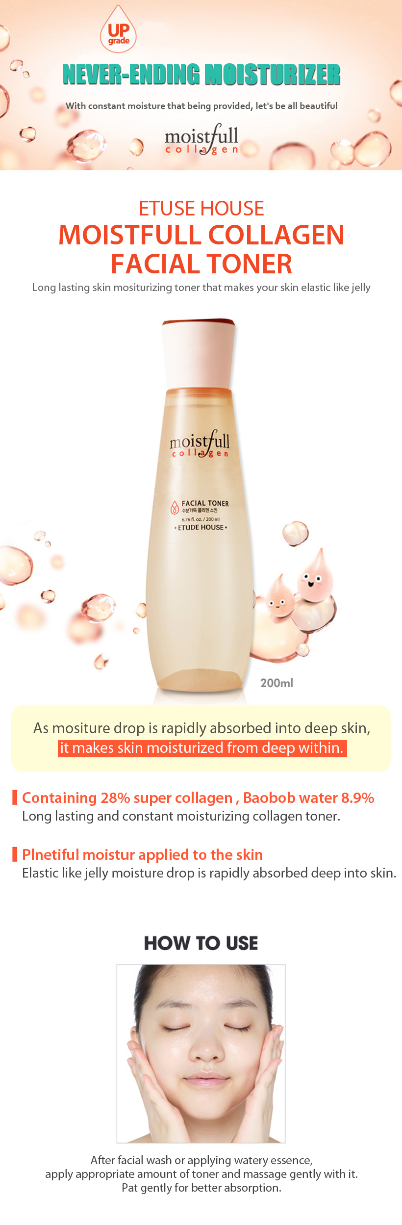 [ Etude House ] Moistfull Collagen Facial Toner - Kolajen Tonik